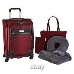 Samantha Brown Ombre Croco-Embossed 22 Spinner with Essential Set 6pc Burgundy