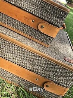 Set Of 2 Vintage Hartmann Leather Tweed Paisley Inner Luggage Belting Suitcases