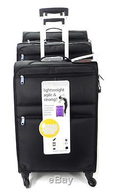 Set Of 3 Stylish Suitcase Lightweight 4 Wheel Trolley Case Travel Luggage Black