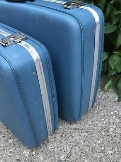 Set of 2 Piece Vintage AMCREST Blue Luggage Hard Shell Train Lined Suitcases GUC