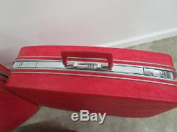Set of 3 SAMSONITE Fashionaire Mid Century Pink Luggage Suite Cases nice clean