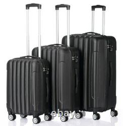 Set of 3 Suitcases Trolley Wheel Set Lightweight Luggage Travel Cases Black