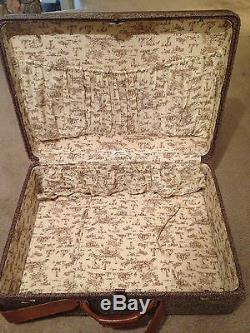 Set of 3 VIntage Hartmann Tweed & Leather Toile Interior Suitcases Mid-Century