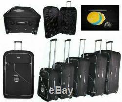Set of 5 Expandable Lightweight 2 Wheel Suitcase Luggage Travel Trolley Cases UK