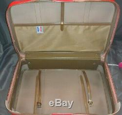 Set of Vintage American Tourister Tiara Red Suitcase and Carry On Bag with Key EUC