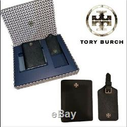 TORY BURCH Emerson Saffiano Leather Passport Wallet Luggage Tag Travel Gift Set