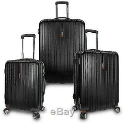 Tasmania 3pc 100% Polycarbonate Hardside Luggage Expandable Spinner Suitcase Set
