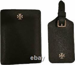 Tory Burch Black Leather Passport Case & Luggage ID Tag Travel Set
