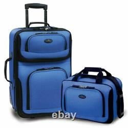 Traveler Carry-On Lightweight Expandable Rolling Luggage Suitcase Set Royal Blue