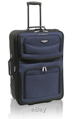 Traveler Choice Navy Amsterdam 8pc Wheel Luggage Suitcase Tote Packing Cubes Set