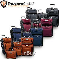 Traveler Choice Orange 4-Piece Amsterdam Expandable Rolling Luggage Suitcase Set