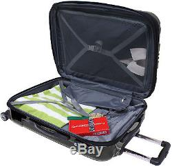 Travelers Choice Black Sedona 3pc Hardside Polycarbonate Spinner Luggage Bag Set