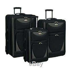 Travelers Club Unisex 3 Piece Expandable Sky-View Luggage Set Black Size OSFA