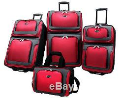 US Traveler Black New Yorker 4-Piece Expandable Rolling Luggage Suitcase Bag Set