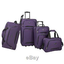 US Traveler Vineyard 4pc Lightweight Rolling Luggage Duffel Suitcase Tote Set