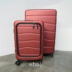 USED Coolife 2 Piece hard shell Suitcase Luggage Set TSA Lock Diamond Red C21