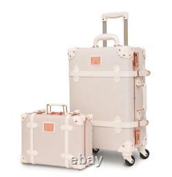 Urecity Stylish Luggage Sets of 2 Pieces New, White Rose
