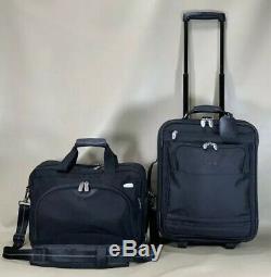 Used Dakota by Tumi Black Carry On Set 16 Briefcase & 18 Upright Suitcase
