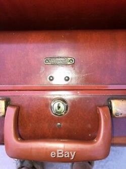 VINTAGE 1950s SET OF 3 AUTHENTIC SAMSONITE TAN LEATHER SUITCASES LUGGAGE