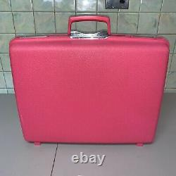 VTG Hot Pink Samsonite Saturn Suitcase Set Hard Shell Luggage Large Medium + KEY