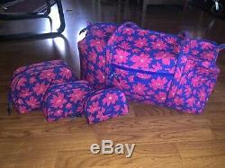 Vera Bradley Art Poppies Large Duffel + Cosmetic Bag Set