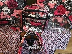 Vera Bradley Spinner Luggage Set Retired Mocha Rouge Excellent