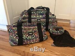Victoria's Secret Pink Aztec 3 Piece Travel Set Luggage Wheelie Duffle Suitcase