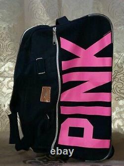 Victoria's Secret Pink Rare Htf 2 Piece Crest Logo Wheelie Carry-on Luggage Set
