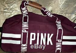 Victoria's Secret Pink Rare Htf Maroon 3 Piece Logo Wheelie Carry-on Luggage Set