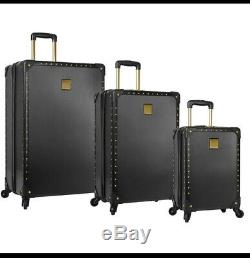 Vince Camuto Black Jania 3pc Luggage Set Spinner Wheels Gold Studs $1080 Sale