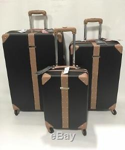 Vince Camuto Laurra 3pc Luggage Set Spinner Wheels Black With Studs Msrp 1080