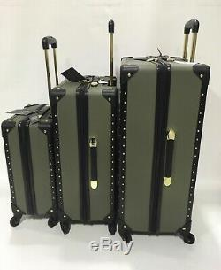 Vince Camuto Litch Green Jania 3pc Luggage Set Spinner Wheels Gold Studs $1080