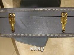 Vintage 1950's Starline Baltimore Luggage set Mist Blue 3 piece set a/key Tray