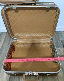 Vintage 1970s 6pc Luggage Set Train Case Garment Bag Camel Vinyl Hard-shell Keys