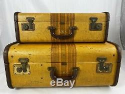 Vintage 30's or 40's Mendel Suitcase Set Hard Shell Luggage Cincinnati 21 18