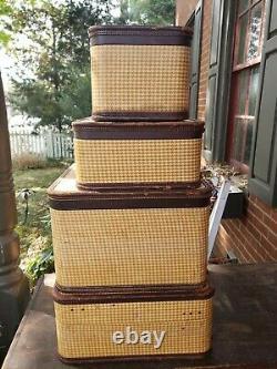 Vintage 4 Piece Amelia Earhart Airoplane Tweed Luggage Set