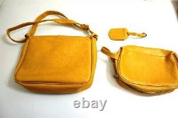Vintage 5 piece Yellow Vinyl soft luggage suitcase set 1970's era bags carry on