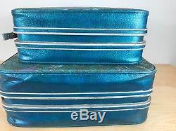 Vintage 60s Set 2 Samsonite Travel Luggage Teal Aqua Floral Suit Case Mod