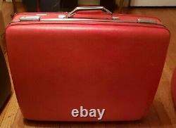 Vintage American Tourister Red Travel Luggage Set 2 piece Mid Century Modern