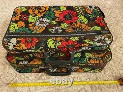 Vintage Bantam Floral Pattern Luggage Suitcase Bag Pair Set Great Condition