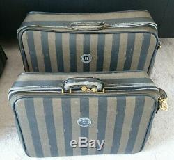 Vintage Fendi Pequin Stripe Print Travel Set 4 Pcs