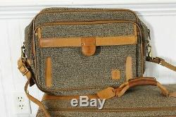 Vintage Hartmann Tweed Canvas Leather Travel Luggage Suit Bag Suitcase Set of 5