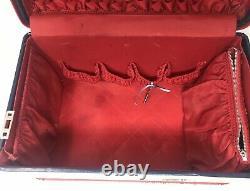 Vintage Mid Century Aero pal Navy Blue Red Suitcase Vanity Luggage Set of 2