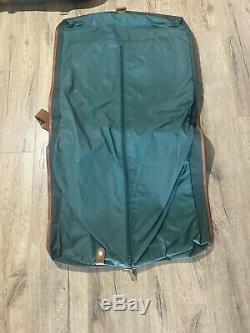 Vintage Polo Ralph Lauren Green Brown Leather Travel Duffel Tote Bag Luggage Set