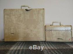 Vintage Samsonite Cream/Ivory Marble luggage set. Womans wardrobe, train case