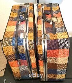 Vintage Skyway 3 Pc Luggage Set 1970s Plaid Tweed Multicolor