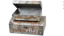 Vintage Suitcase Trunk Train Case Leather Chests Retro Antique Luggage Set of 2
