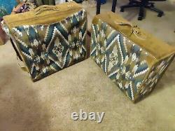 Vintage french company luggage 3 Piece Aztec Southwest Set