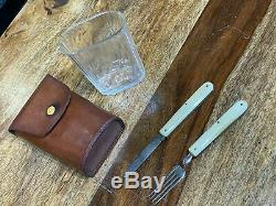 Vintage leather cased travel campaign set knife fork and glass circa 1920