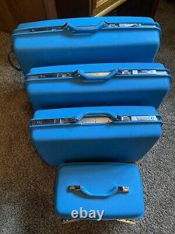 Vtg Blue Samsonite Silhouette Train Hard Suit Case Luggage Set 4 Pc Set WoW
